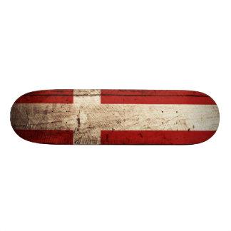 Denmark Flag on Old Wood Grain Skateboard Deck
