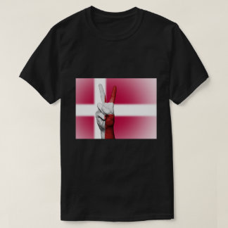 Denmark Flag Peace Sign - Patriotic T-Shirt