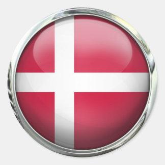 Denmark Flag Round Glass Ball Round Sticker