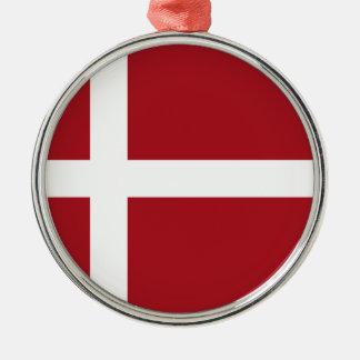 Denmark flag Silver-Colored round ornament
