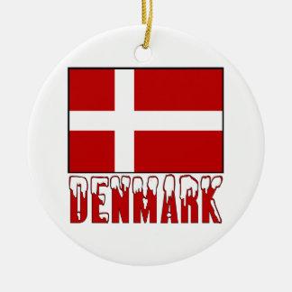 Denmark Flag Snow Round Ceramic Ornament