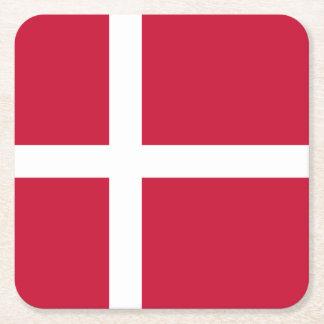 Denmark Flag Square Paper Coaster