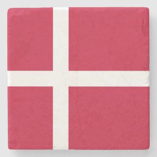 Denmark Flag Stone Beverage Coaster