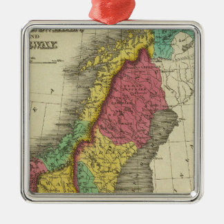 Denmark, Sweden, And Norway Silver-Colored Square Ornament