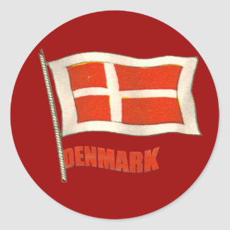 Denmark vintage flag Dansk fans gifts Classic Round Sticker
