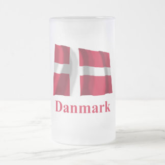 Denmark Waving Flag with Name in Danish Frosted Glass Beer Mug