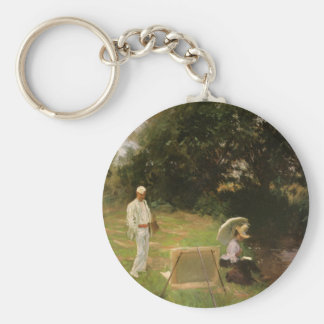 Dennis Miller Bunker Painting at Calcot by Sargent Basic Round Button Keychain