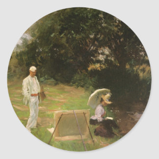 Dennis Miller Bunker Painting at Calcot by Sargent Round Sticker
