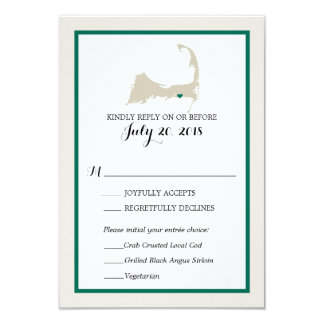 Dennis Port Cape Cod Map | Wedding RSVP menu Card
