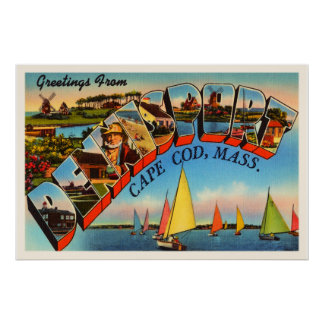 Dennisport Cape Cod Massachusetts MA Old Travel Poster