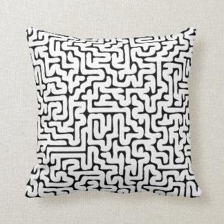 Dense Labyrinth Black&White Throw Pillow