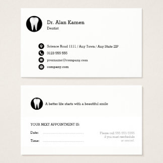 Dental Appointment Card | Classy black white