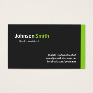 Dental Assistant - Modern Minimalist Green Business Card