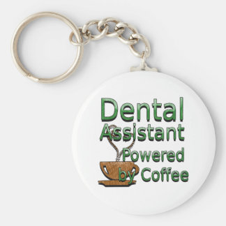 Dental Assistant Powered by Coffee Basic Round Button Keychain