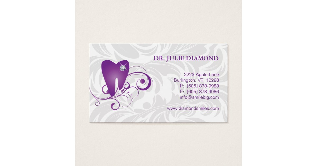 Dental Business Card Diamond Tooth Logo Purple 2 Zazzle Ca