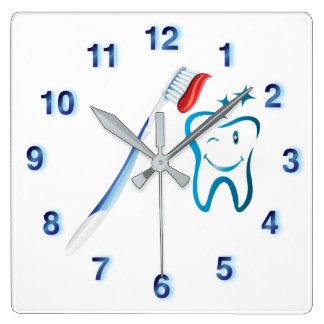 Dental Cartoon Tooth Toothbrush Funky Blue Clock
