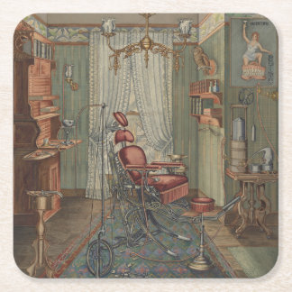 Dental Chair Operating Room Dentist Office Vintage Square Paper Coaster
