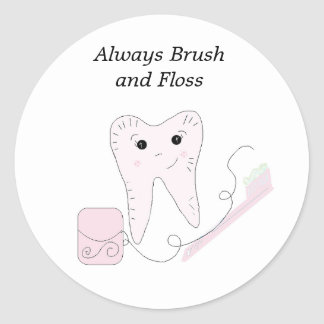 Dental Floss and Tooth Design Classic Round Sticker