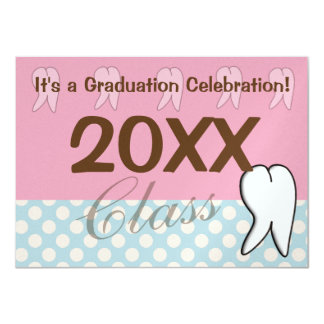 Dental Graduation Inviations Pink and Blue 4.5x6.25 Paper Invitation Card