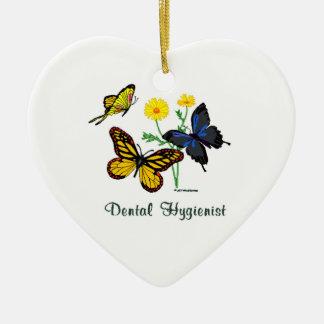 Dental Hygienist Butterflies Ceramic Heart Ornament
