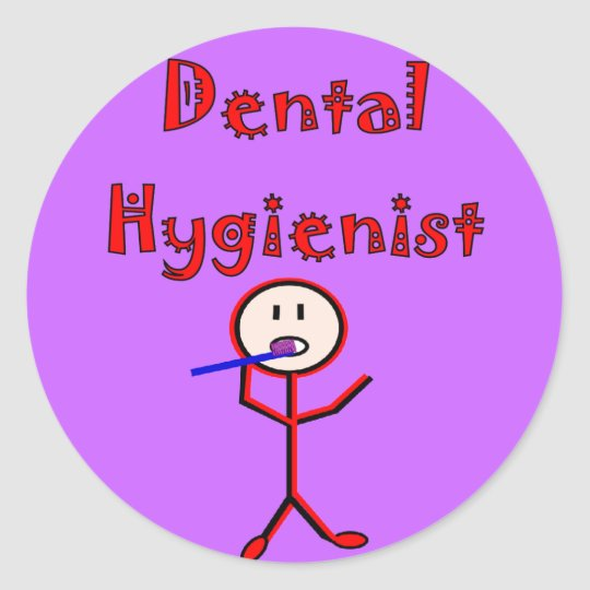 Dental Hygienist Stick Person With Toothbrush Classic Round Sticker