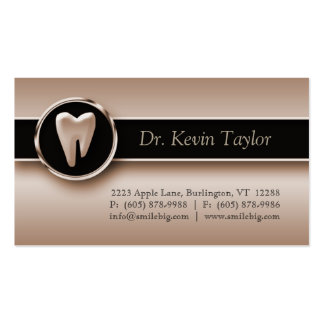 Dental Molar Business Card Bronze Metallic