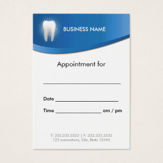 Dental Office Modern Blue Dentist Appointment Business Card