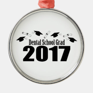 Dental School Grad 2017 Caps And Diplomas (Black) Metal Ornament