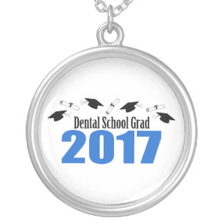 Dental School Grad 2017 Caps And Diplomas (Blue) Silver Plated Necklace