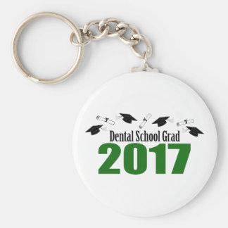 Dental School Grad 2017 Caps And Diplomas (Green) Basic Round Button Keychain