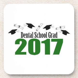 Dental School Grad 2017 Caps And Diplomas (Green) Drink Coasters