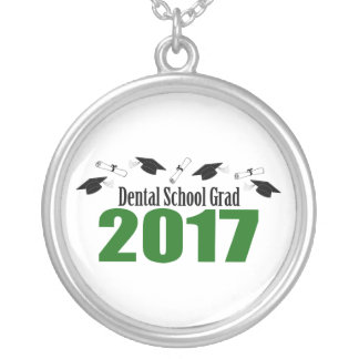 Dental School Grad 2017 Caps And Diplomas (Green) Silver Plated Necklace
