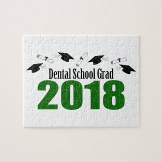 Dental School Grad 2018 Caps And Diplomas (Green) Jigsaw Puzzle