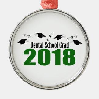 Dental School Grad 2018 Caps And Diplomas (Green) Metal Ornament