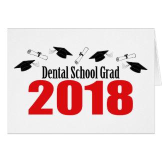 Dental School Grad 2018 Caps And Diplomas (Red) Card