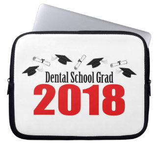 Dental School Grad 2018 Caps And Diplomas (Red) Laptop Sleeve