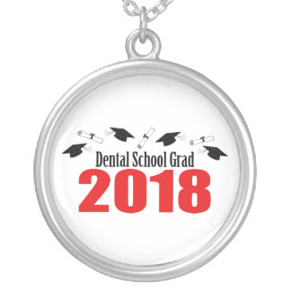 Dental School Grad 2018 Caps And Diplomas (Red) Silver Plated Necklace