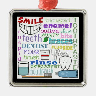 Dental Terms Subway Art Metal Ornament