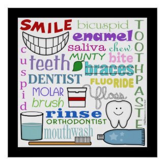 Dental Terms Subway Art Poster
