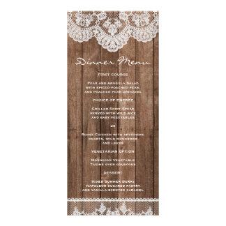 Dentelle blanche rustique et menu mince en bois de carte double customisable