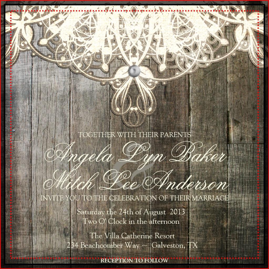 Dentelle rustique Invitations de mariage