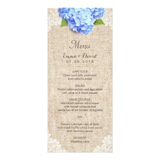 Dentelle d'hortensia et menu bleus rustiques de carte double en  couleur