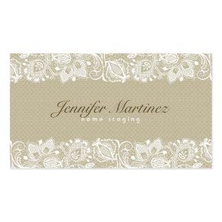 Dentelle florale vintage beige et blanche élégante carte de visite
