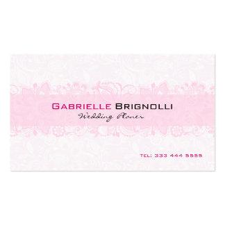 Dentelle florale vintage blanche et rose-clair carte de visite standard