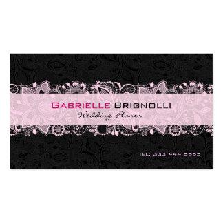 Dentelle florale vintage noire et rose-clair modèles de cartes de visite