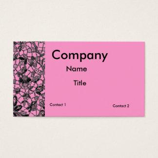 dentelle noire au-dessus de féminin rose cartes de visite