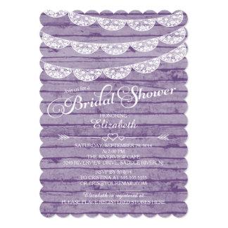 Dentelle rustique et invitation nuptiale en bois carton d'invitation  12,7 cm x 17,78 cm
