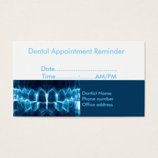Dentist Appointment Reminder Business Card
