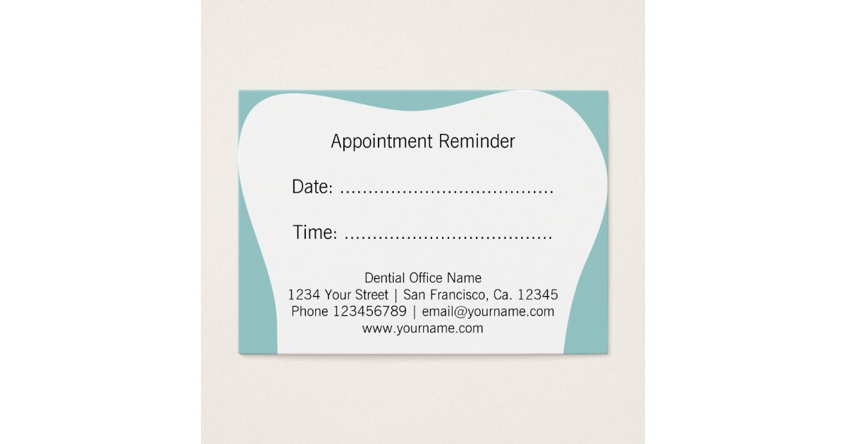 Dentist Appointment Reminder Cards Dental Office Zazzle Ca