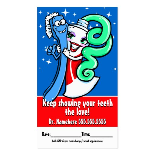 Dentist.Dental.Appointment Reminder.Custom text Business Cards